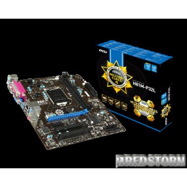 Материнская плата MSI H81M-P32L (s1150, Intel H81, PCI-Ex16)