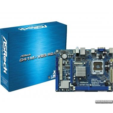 Материнская плата ASRock G41M-VS3 R2.0 (s775, Intel G41/ICH7, PCI-E x16)