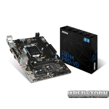Материнская плата MSI H81M PRO-VD (s1150, Intel H81, PCI-E 2.0x16)