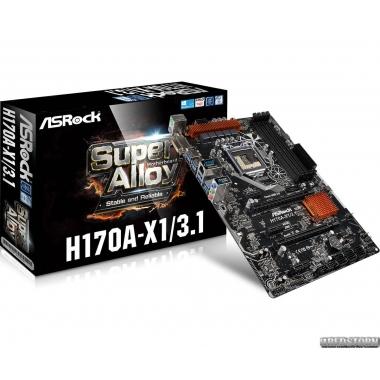Материнская плата ASRock H170A-X1/3.1 (s1151, Intel H170, PCI-Ex16)