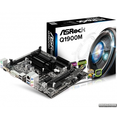 Материнская плата ASRock Q1900M (Intel Quad-Core J1900, SoC, PCI-Ex16)