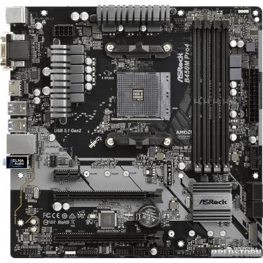 Материнская плата ASRock B450M Pro4 (sAM4, AMD B450, PCI-Ex16)