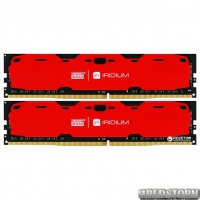 Оперативная память Goodram DDR4-2400 16384MB PC4-19200 (Kit of 2x8192) IRDM Red (IR-R2400D464L15S/16GDC)