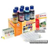 Комплект перезаправляемых картриджей WWM Epson с чипами + чернила E82 (6х100 г) (RC.T080)