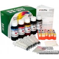 Комплект перезаправляемых картриджей ColorWay Canon MG6140 chip+чернила (6 х 100 мл) (MG6140RC-6.1P)