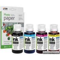 Комплект чернил ColorWay HP 121/134/650/652 (4х100 мл) BK/C/M/Y + фотобумага ColorWay Premium(CW-HW652SET01/PP)