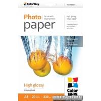 Фотобумага ColorWay глянцевая 230г/м A4 20 л PG230-20 (PG230020A4)