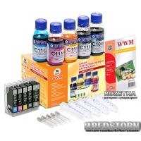Комплект перезаправляемых картриджей WWM Canon c чипами + чернила (5х100 г) (RC.CLI521ARC)