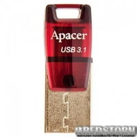 USB флеш накопитель Apacer 16GB AH180 Red USB 3.1 (AP16GAH180R-1)