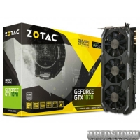 Zotac PCI-Ex GeForce GTX 1070 AMP Extreme 8GB GDDR5 (256bit) (1632/8208) (DVI, HDMI, 3 x DisplayPort) (ZT-P10700B-10P)